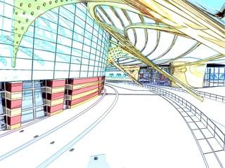 progetto palasport rendering 3d ingegneria architettura arena