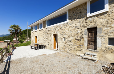 holiday home in the mountain, outdoor view, stone facade
