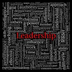 Leadership in word tag cloud on black