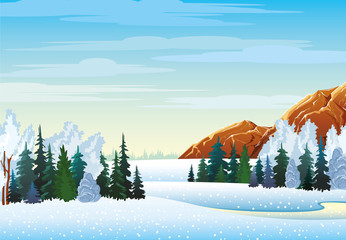 Winter landscape with forest and mountains