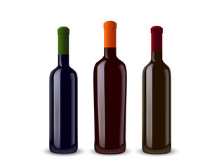 illustration of three wine bottles