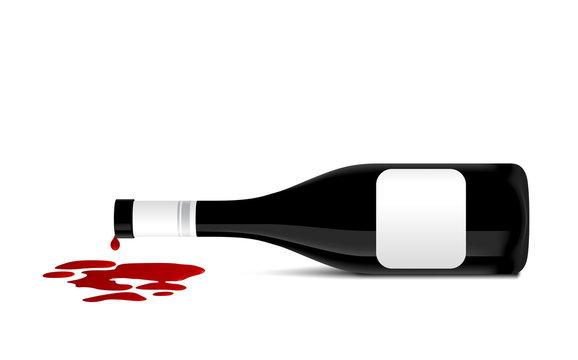 illustration of wine bottle that spill red wine