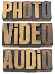 photo, video, audio words in wood type