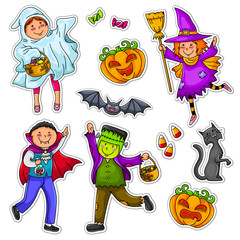 halloween set of kids and decorations