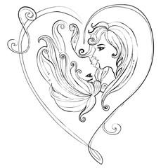Illustration of couple girls on white background