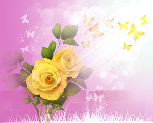 Background with yellow roses and butterflies