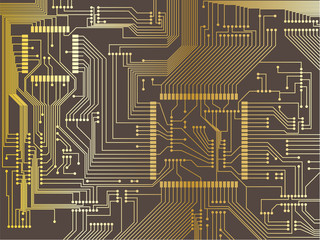 Vector illustration of a printed circuit board
