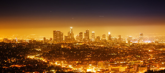Poster Los Angeles Los Angeles, night panorama