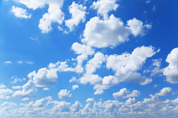 blue sky and fluffy white clouds