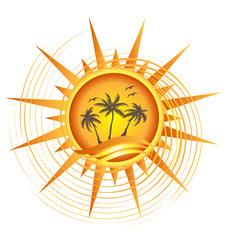 Gold tropical sun logo design