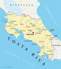 Costa Rica political map with capital San José, national borders, most important cities, rivers and lakes. Illustration with English labeling and scaling. Vector.