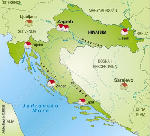 landkarte von kroatien als infografik stockfotos und. Black Bedroom Furniture Sets. Home Design Ideas