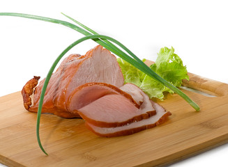 Thinly sliced ham with salad