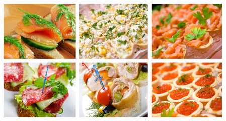 Food set of different Canapes