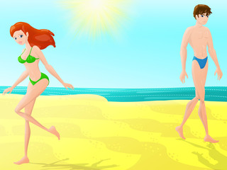 two people on the beach for vacation