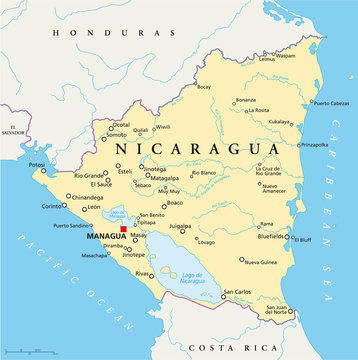 Nicaragua political map with capital Managua, with national borders, most important cities, rivers and lakes. Illustration with English labeling and scaling. Vector.