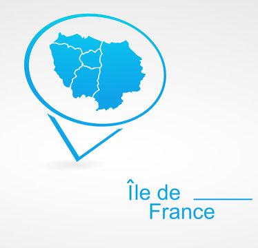 île de france région de france dans signet bleu