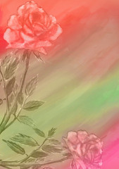 abstract watercolor background with roses