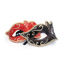 Red and black masquerade masks on white