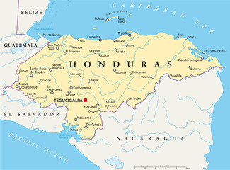 Honduras political map with capital Tegucigalpa, with national borders, most important cities, rivers and lakes. Illustration with English labeling and scaling. Vector.