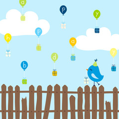 "Blue Bird Fence Balloons Gifts ""Happy Bday"" Blue"