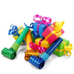 Bunte Geschenke mit Tröten