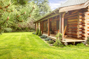 Front porch of old log cabin.