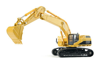 Toy excavator on white background