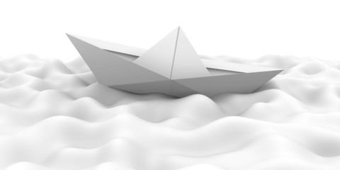 White paper ship on the waves