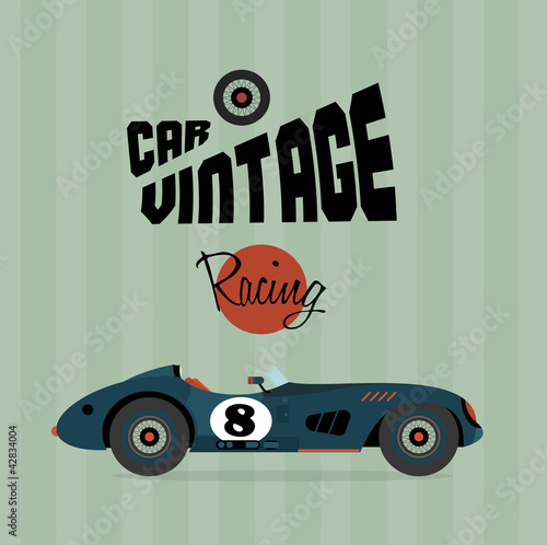 Wall mural Vector vintage sport racing cars