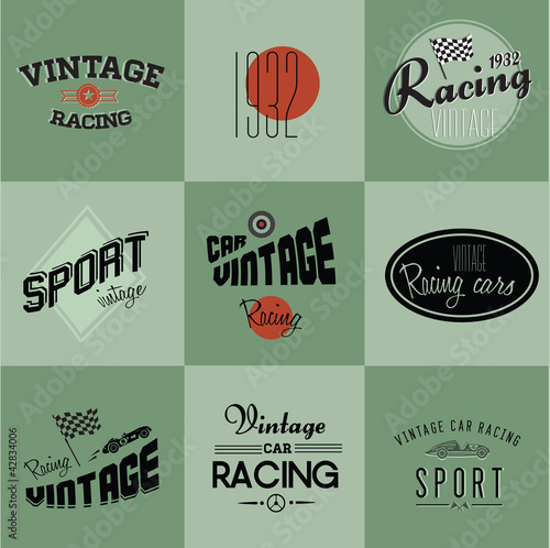 Wall mural Vintage car racing badges