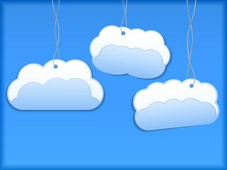 Photo sur Aluminium Ciel Hanging paper clouds