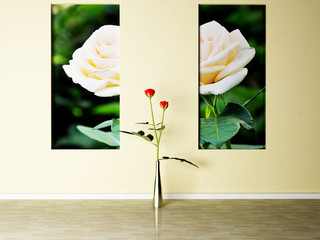 Interior design scene with a roses