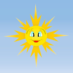 Beautiful smiling sun vector illustration on blue background