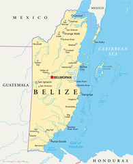 Belize political map with capital Belmopan, national borders, most important cities, rivers and lakes. Illustration with English labeling and scale. Vector.