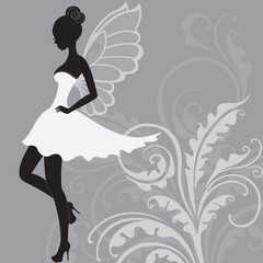 Silhouette of beautiful fairy