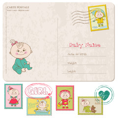 Baby Girl Greeting Postcard with place for your photo and text
