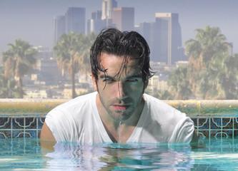 Close man in pool