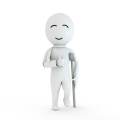 3d small people as patient  in white background