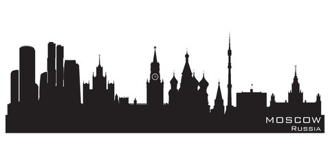 Wall Mural - Moscow, Russia skyline. Detailed vector silhouette