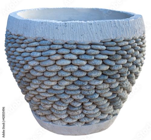 Pot artisanal en b ton et galets photo libre de droits sur la banque d 39 images - Pot en beton ...