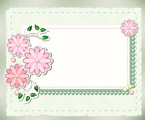 Vintage background with flowers and lace