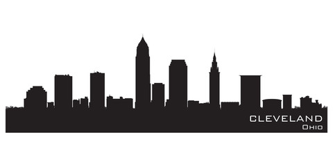 Fototapete - Cleveland, Ohio skyline. Detailed vector silhouette