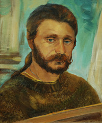 portrait of the bearded man of artist oil on a canvas, painting,