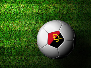 Angola Flag Pattern 3d rendering of a soccer ball in green grass