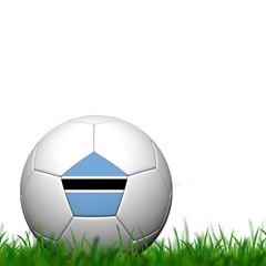3D Soccer balll Botswana Flag Patter on green grass over white b
