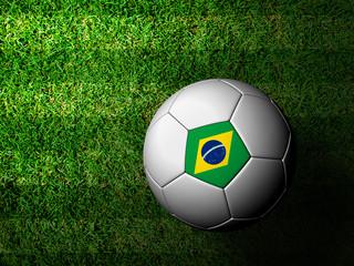 Brazil Flag Pattern 3d rendering of a soccer ball in green grass