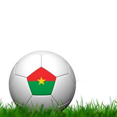 3D Soccer balll Burkina Faso Flag Patter on green grass over whi