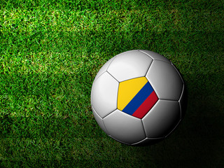 Colombia Flag Pattern 3d rendering of a soccer ball in green gra