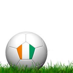 3D Soccer balll Côte d'Ivoire Flag Patter on green grass over w